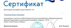 2019 Серификат  Тим Бирюса Столопова Елена